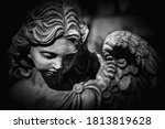 Death. Close Up Sad Angel As...