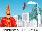 man in national traditional... | Shutterstock .eps vector #1813824152