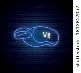 neon vr glasses icon. glowing...
