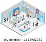 supermarket's frozen foods and... | Shutterstock .eps vector #1813902752