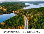 Aerial View Of Rural Road With...