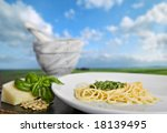 spaghetti al pesto  a typical... | Shutterstock . vector #18139495