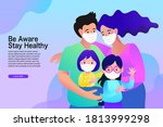 cartoon family wearing medical...   Shutterstock .eps vector #1813999298