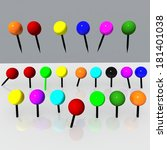 pins colors many isolated | Shutterstock . vector #181401038