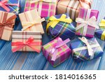 Wrapped Colorful Gifts With...