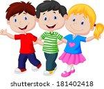happy young children | Shutterstock . vector #181402418