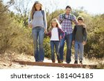 family hiking in countryside... | Shutterstock . vector #181404185