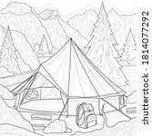 camping. tent in the mountains.... | Shutterstock .eps vector #1814077292