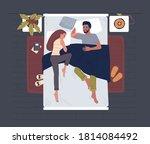 people sleeping in bed top view.... | Shutterstock .eps vector #1814084492