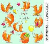 fox life   cute hand drawn... | Shutterstock . vector #1814093168