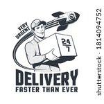 delivery man courier retro logo ... | Shutterstock .eps vector #1814094752