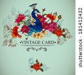Floral Vector Vintage Card Wit...
