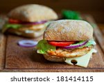 two chicken sandwiches on a... | Shutterstock . vector #181414115