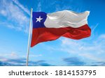 Large Chile flag waving in the wind