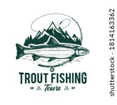 vector fishing logo with trout...   Shutterstock .eps vector #1814163362