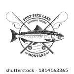 vector fishing logo template... | Shutterstock .eps vector #1814163365