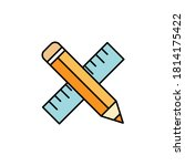 pencil  ruler icon. element of...