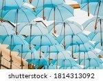 Background Of Blue Umbrellas I...