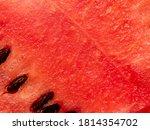 Red Pulp Of Watermelon Close U...