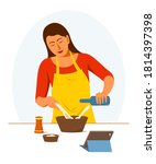 woman is learning to cook... | Shutterstock .eps vector #1814397398
