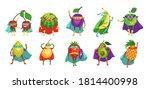 funny superhero fruit and berry ... | Shutterstock .eps vector #1814400998