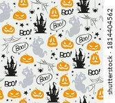 seamless halloween pattern with ... | Shutterstock .eps vector #1814404562