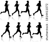 set of silhouettes. runners on... | Shutterstock .eps vector #1814411072