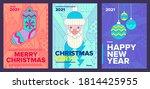 poster set  christmas sock ... | Shutterstock .eps vector #1814425955