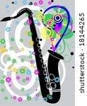 black jazz saxaphone with... | Shutterstock .eps vector #18144265
