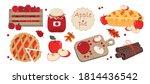 apple pie set  pie cut on top ...   Shutterstock .eps vector #1814436542
