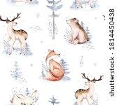 Watercolor Winter Patterns Deer ...