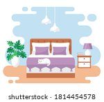 bedroom interior. modern banner.... | Shutterstock .eps vector #1814454578