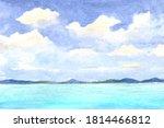 watercolor sea landscape and...   Shutterstock . vector #1814466812