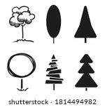 black trees on isolated... | Shutterstock .eps vector #1814494982