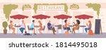 people sitting in street cafe... | Shutterstock .eps vector #1814495018