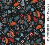 nordic scandinavian floral... | Shutterstock .eps vector #1814501738