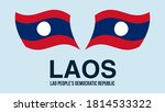laos flag state symbol isolated ...
