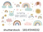 set of cute baby and kids... | Shutterstock .eps vector #1814544032