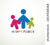happy family simple vector logo ... | Shutterstock .eps vector #1814568368