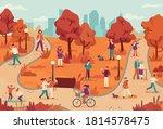 people in autumn park. women... | Shutterstock .eps vector #1814578475