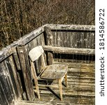 old grunge chair on a hunting... | Shutterstock . vector #1814586722