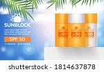 set of sunblock products on...   Shutterstock .eps vector #1814637878