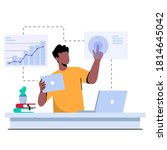 people at work  analyzing data  ... | Shutterstock .eps vector #1814645042