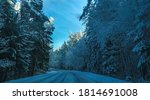snowy winter forest road... | Shutterstock . vector #1814691008