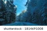 snowy winter forest road... | Shutterstock . vector #1814691008