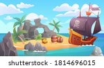 Pirate island landscape vector illustration. Cartoon scenic seascape with piratical ship in ocean or sea waters and treasure old chest full of gold on rocky beach island, adventure scene background