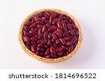 Red Beans In A Wicker Basket O...