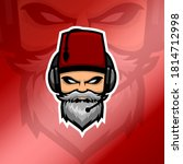 Old Beard Man Esport Logo With...