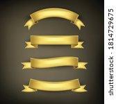 ribbon basic set color gold on... | Shutterstock .eps vector #1814729675