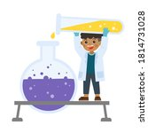 little science kid working with ... | Shutterstock .eps vector #1814731028